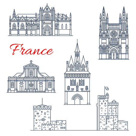 France travel vector Bordeaux architecture icons  イラスト・ベクター素材