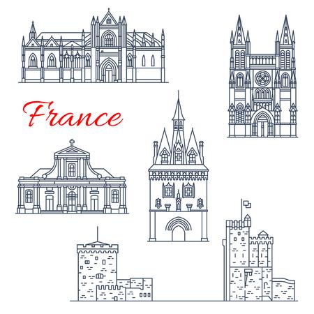 France travel vector Bordeaux architecture icons Illustration