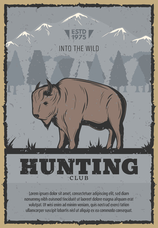 Hunting club or hunter open season vintage poster of buffalo or bison in snow mountains. Vector retro design for wild ox animal hunt adventure or hunter hobby concept