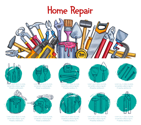 Home repair work tools sketch poster for construction materials store. Vector design of hammer, saw or drill and ruler, spanner and nails or paint brush and screwdriver for house renovation Illusztráció