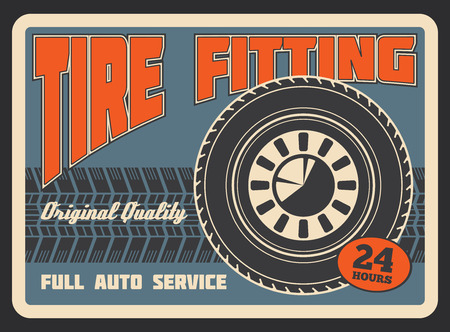 Car auto service or tire fitting station retro poster. Vector vintage design of tire track of car light alloy wheel for automobile spare parts shop or transport mechanic garage repair center 일러스트