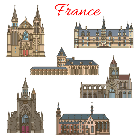 French travel landmarks and medieval buildings 일러스트