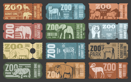 Zoo tickets template design with african and forest animal. Retro grunge admit one card or coupon with african safari lion, elephant and giraffe, bear, zebra and rhino, hippo, antelope and bison Illustration