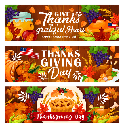 Thanksgiving Day festive card with autumn harvest pumpkin and turkey on wooden background. Cornucopia with vegetable, fruit and pie, adorned by ribbon banner with november holiday greeting wishes 일러스트