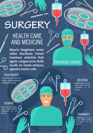 Surgery medicine banner with surgeon healthcare medical personnel. Doctor in operation room with surgical instrument, operation table and lamp, scalpel, scissors and forceps, blood bag and glove