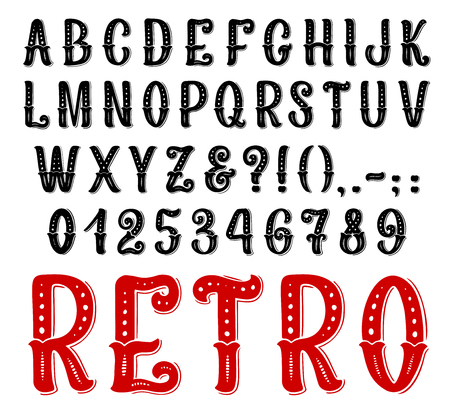 Retro font of alphabet letters and numbers. Black and red vintage type of capital alphabet symbols, digits and punctuation marks, decorated with dots and curved line for typography poster design
