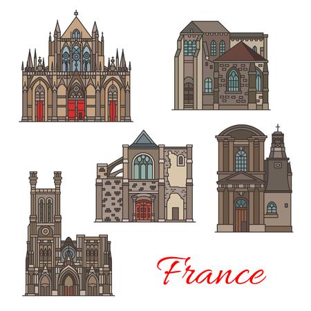 French travel landmark icons, Troyes architecture