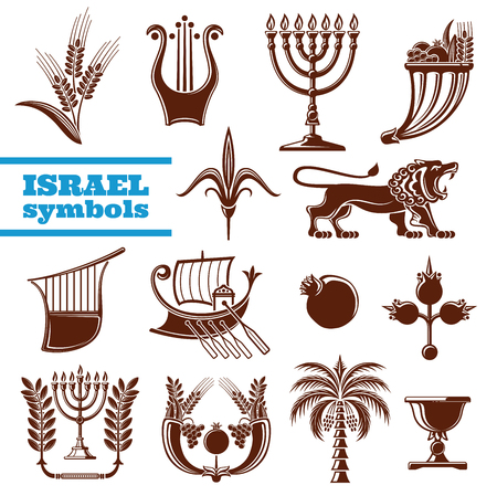 Israel culture, history, judaism religion symbols Stock Illustratie