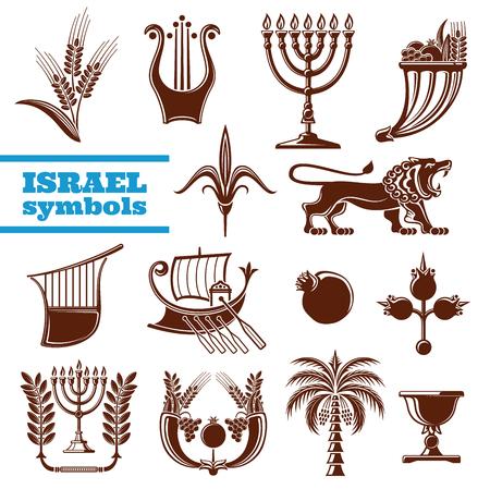 Israel culture, history, judaism religion symbols Illustration