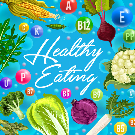 Healthy eating poster with vitamin vegetables