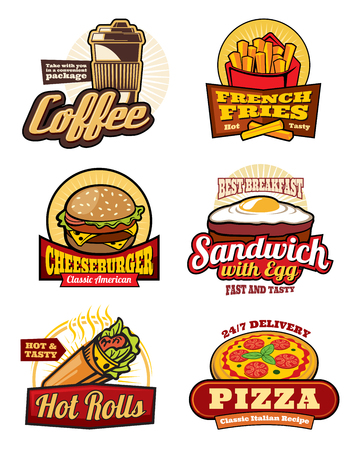 Fast food restaurant meal retro labels design Stockfoto - 105323476