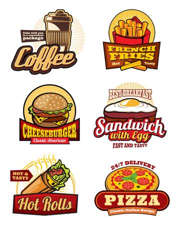 Fastfood restaurant maaltijd retro etiketten ontwerpen