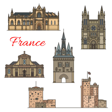 Travel landmarks of medieval French architecture