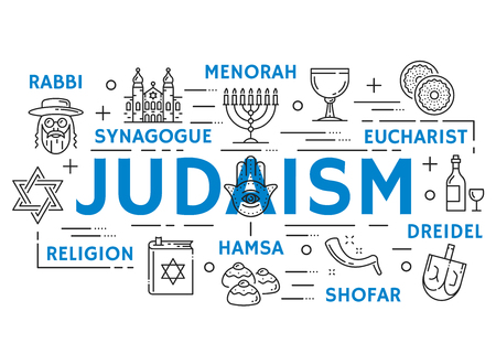 Judaism religion symbols, thin line icons Illustration