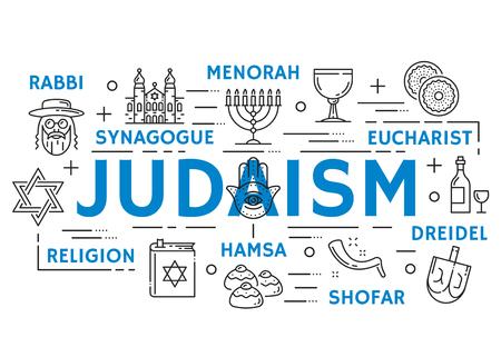 Jodendom religie symbolen, dunne lijn pictogrammen