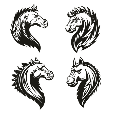 Horse head icons of black tribal animal. Wild mustang stallion or mare with curved neck and ornamental mane for tattoo, horse racing sport mascot or t-shirt print design Ilustração