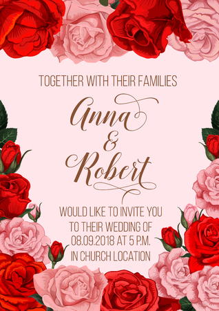 Wedding ceremony invitation with rose flower bouquet. Red and pink rose flower frame border with floral bud, blossom and green leaf invite poster for wedding party design