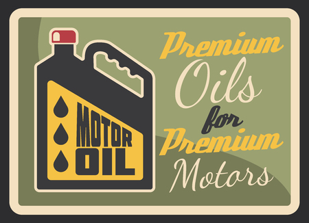 Motor oil gas station retro banner for filling station or car service garage. Vintage engine oil can with black drop grunge poster for oil shop or change service advertising design