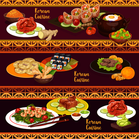 Korean cuisine banners of asian restaurant dish. Sushi roll kimbap, rice bibimbap with vegetable and egg, grilled beef bulgogi and baked ribs with soy sauce, fried shrimp, pickled fish and bean pancake