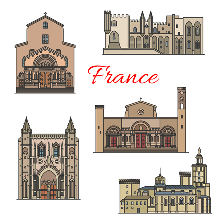 French travel landmarks, thin line vector Illustration