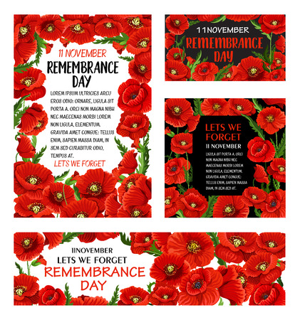 Remembrance Day red poppy flower poster with floral frame. Memorial banner with British legion poppy and Lest We Forget text in center for World War soldier and veteran Memory Day anniversary design Vectores