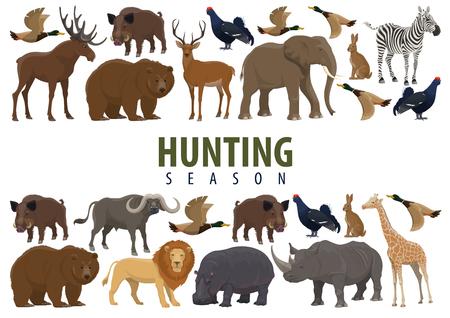 Jagdsaisonbanner mit Grenze von Tieren, wilden Waldvögeln und afrikanischen Safari-Säugetieren. Hirsch, Ente und Bär, Elefant, Löwe und Giraffe, Nashorn, Nilpferd und Rentier, Wildschwein, Hase und Stier, Zebra und Elch Vektorgrafik