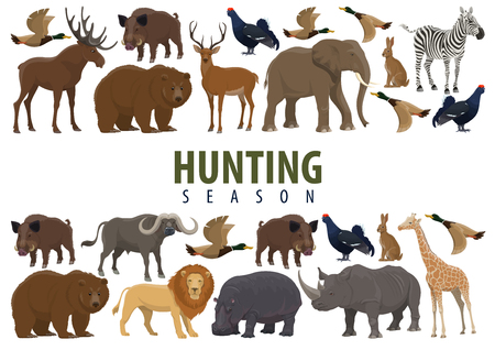 Hunting season banner with border of animal, wild forest bird and african safari mammal. Deer, duck and bear, elephant, lion and giraffe, rhino, hippo and reindeer, boar, hare and bull, zebra and elk