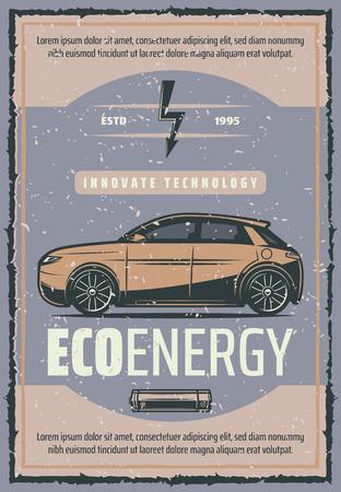 Autobatterieladung Innovation Technologie Vintage Poster der Ladestation für Elektrofahrzeuge. Retro-Banner für den grünen Energietransport mit Elektroauto und Batterie für das Design der Öko-Motorleistung
