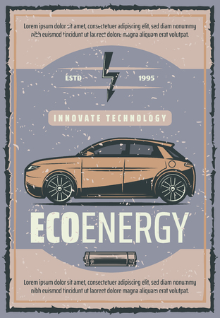 Car battery charge innovation technology vintage poster of electric vehicle recharge station. Green energy transport retro banner with electric automobile and battery for eco motor power design Vectores