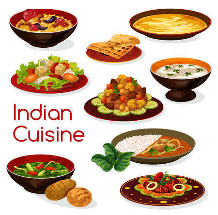 Indian cuisine meal icons and dishes Çizim