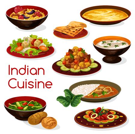 Platos e iconos de comida de cocina india Ilustración de vector
