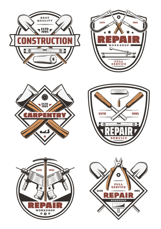 Work tools and repair equipment icons