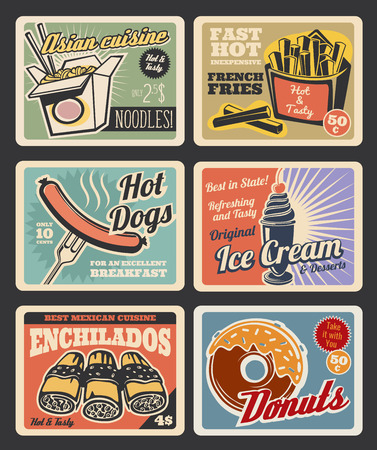 Fast food restaurant retro cards of american, mexican and asian menu. Hot dog with sausage, potato french fries and donut, chinese noodle box, ice cream dessert and enchiladas vintage poster Illustration