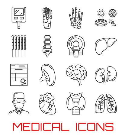 Medical icons with human organs and doctor. Heart, lung and kidney, brain, liver and thyroid gland, hand, foot and spine skeleton bone, blood sugar test and MRT thin line symbols of health care design