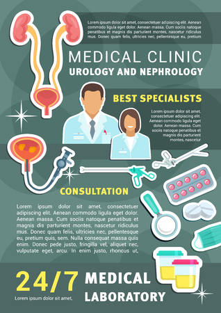 Urology and nephrology medical clinic promo poster with doctor, instrument and urinary system anatomy. Urologist and nephrologist medicine specialist service banner of medical treatment and research Illustration