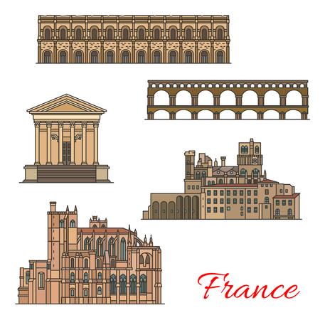 Repères de voyage français avec bâtiments et ponts Vecteurs