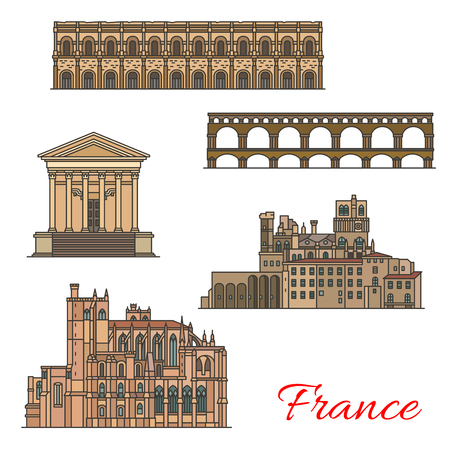 French travel landmarks with buildings and bridges