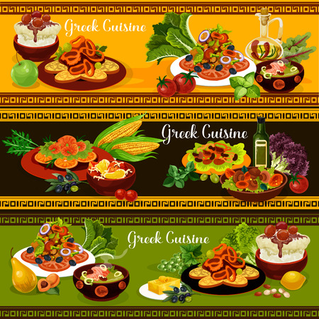 Greek cuisine traditional food banners of mediterranean dish. Vegetable and feta cheese salad, grilled seafood and squid in wine sauce, cream fish soup, rice pudding, mushroom and bean salad