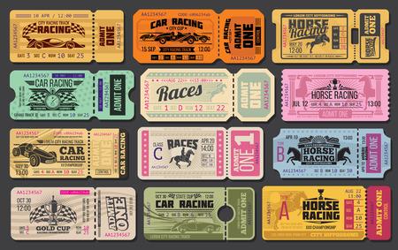 自動および競馬スポーツイベントチケットテンプレート。ヴィンテージレーシングカー、競走馬、勝者トロフィーカップ、レースフラッグ、モータースポーツや乗馬スポーツデザインのためのストップウォッチを持つ1枚のカードを認めます