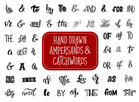 Ampersand and catchword retro lettering Çizim
