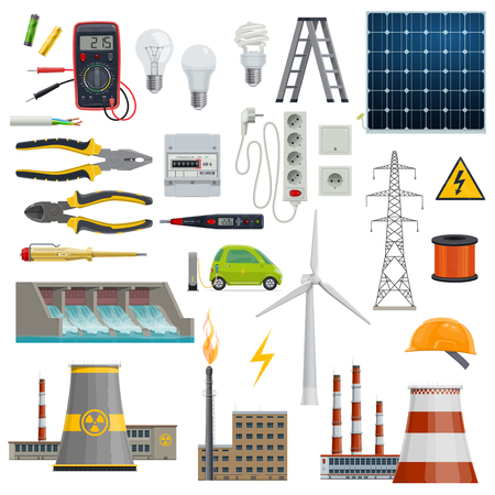 Electricity and power industry icons. Light bulb, plug and socket, battery, solar panel, wind turbine and pylon, screwdriver, cable and pliers, electric car, thermal, nuclear and hydro power station Ilustração