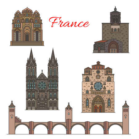 Travel landmarks of France, famous tourist sights  イラスト・ベクター素材