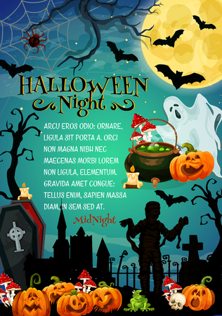 Halloween holiday night monster festive banner for horror party invitation. Fear pumpkin lantern, ghost and bat, spider net, zombie and mummy at cemetery with full moon, gravestone and coffin