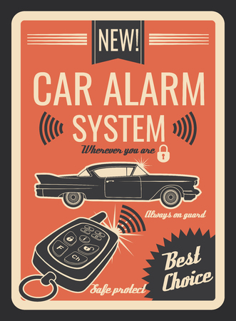 Car alarm system vintage poster with key and lock Foto de archivo - 105323754