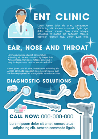 Otorhinolaryngology medicine banner for ENT clinic promotion template. Otorhinolaryngologist doctor with patient ear, nose and throat, pill, syringe and otoscope poster for healthcare themes design
