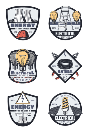 Electrical service and power industry retro badges Stock Illustratie