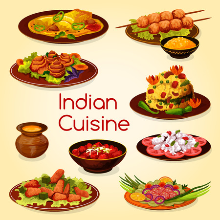 Indian cuisine with meat and vegetable dishes