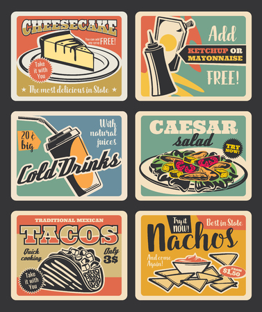 Fast food retro cards of american and mexican restaurant lunch with snack, drink and dessert. Meat taco, nacho and soda, caesar salad, cheesecake and sauce for fastfood cafe vintage poster design Illustration
