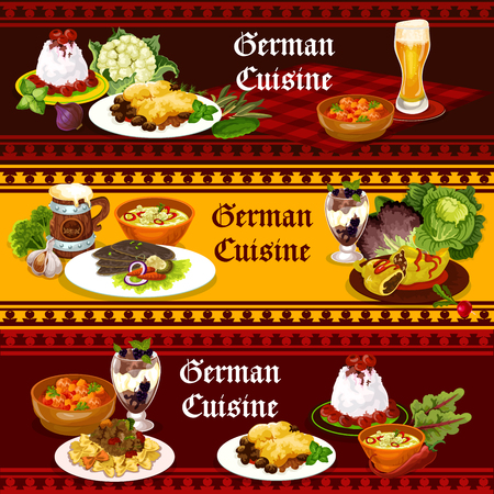 German cuisine traditional food and drink banners. Beer with potato meat casserole, stuffed pepper and cabbage soup, duck with vegetable, cream pasta and meatball, chocolate cake and rice pudding Stock Vector - 105206662