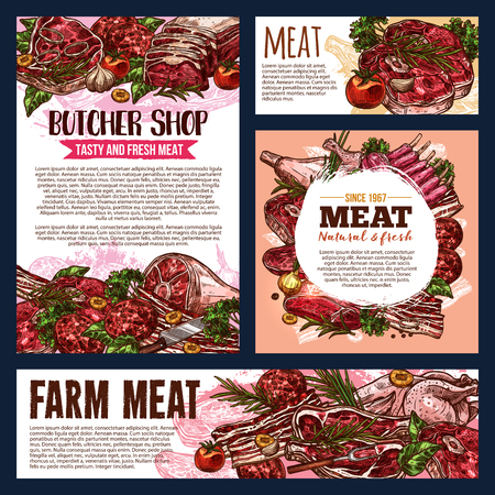 Meat product banners of fresh farm food for butcher shop and bbq restaurant menu template. Beef and pork steak, chicken, ham and bacon, lamb ribs, chop and burger patty sketch design